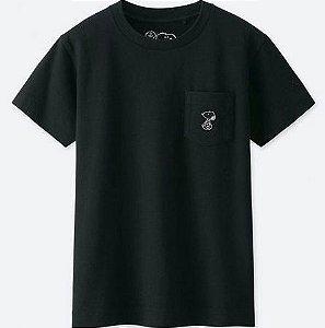 "UNIQLO x KAWS x PEANUTS - Camiseta Graphic ""Preto"" (Infantil) -NOVO-"