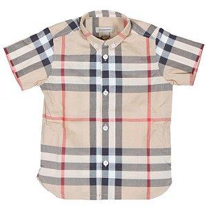 """BURBERRY - Camisa Vintage Check """"Bege"""" (Infantil) -USADO-"""