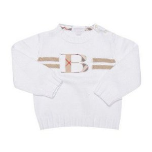 "BURBERRY - Sweater Logo Applique Vintage Check ""Branco"" (Infantil) -USADO-"