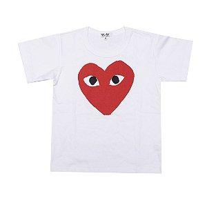 "COMME DES GARÇONS - Camiseta Play Big Heart ""Branco"" (Infantil) -NOVO-"