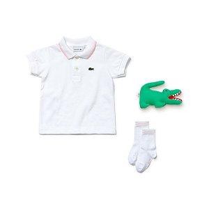"""LACOSTE - Kit Camisa Polo + Meia + Pelúcia """"White"""" (Infantil)"""