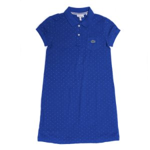 "LACOSTE - Vestido Polo Cotton Petit Piqué ""Azul"" (Infantil) -NOVO-"