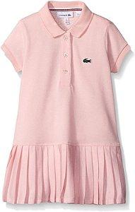 "LACOSTE - Vestido Polo Cotton Pleated Bottom ""Rosa Claro"" (Infantil) -NOVO-"