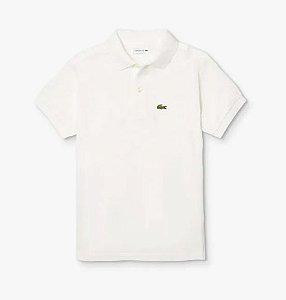 "LACOSTE - Camisa Polo Classic Piqué ""Branco"" (Infantil) -NOVO-"