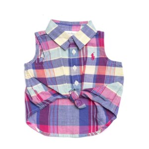 "POLO RALPH LAUREN - Camisa Regata Xadrez ""Pink/blue"" (Infantil)"