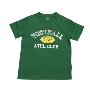 "POLO RALPH LAUREN - Camiseta Football Athl. Club ""Verde"" (Infantil) -NOVO-"