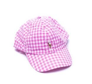 "POLO RALPH LAUREN - Boné Cotton Baseball Check ""Rosa"" (Infantil) -NOVO-"
