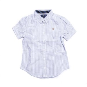 "POLO RALPH LAUREN - Camisa Cotton Oxford Stripe Girls ""Azul"" (Infantil) -NOVO-"
