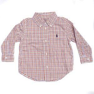 "POLO RALPH LAUREN - Camisa Plaid Cotton Poplin Baby ""Laranja"" (Infantil) -NOVO-"