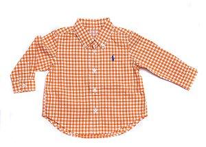 "POLO RALPH LAUREN - Camisa Gingham Cotton Poplin ""Laranja"" (Infantil) -NOVO-"
