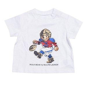 """POLO RALPH LAUREN - Camiseta Polo Bear Football Baby """"Branco"""" (Infantil) -NOVO-"""