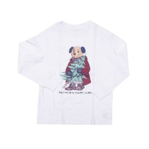 "POLO RALPH LAUREN - Camiseta Manga Longa Polo Bear Winter Kids ""Branco"" (Infantil) -NOVO-"