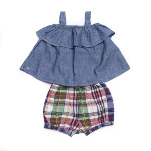 "POLO RALPH LAUREN - Conjunto Cotton Madras ""Denim"" (Infantil) -NOVO-"