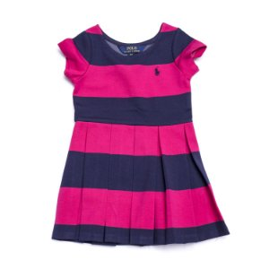 "POLO RALPH LAUREN - Vestido Striped Stretch Jersey ""Rosa"" (Infantil) -NOVO-"