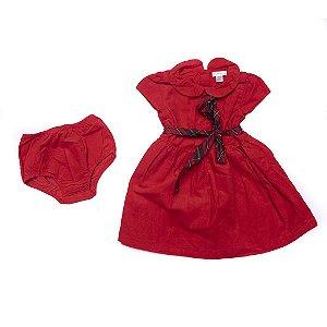 "POLO RALPH LAUREN - Vestido Cotton & Bloomer Baby ""Vermelho"" (Infantil) -NOVO-"