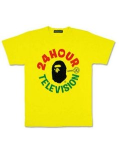 """BAPE - Camiseta 24 Hour Television """"Amarelo"""" -NOVO-"""