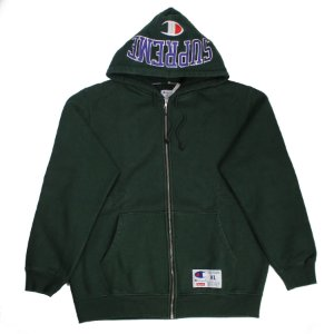 "SUPREME x CHAMPION - Moletom Arc Logo Zip Up ""Verde Escuro"" -USADO-"