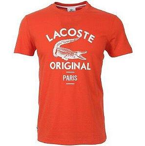 """LACOSTE - Camiseta Original Paris Print """"Vermelho"""" -NOVO-"""