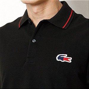 "LACOSTE - Camisa Polo Regular Fit France ""Preto"" -NOVO-"
