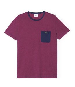 "LACOSTE - Camiseta Regular Fit Pocket ""Bordô/Marinho"" -NOVO-"