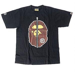 """BAPE - Camiseta Ape Head Zip """"Preto"""" -USADO-"""