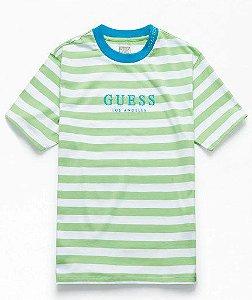 """GUESS - Camiseta 81 Go Stripe Crew """"Verde Limão"""" -NOVO-"""