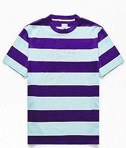 """GUESS - Camiseta Davidson Stripe Crew """"Roxo/Azul Claro"""" -NOVO-"""