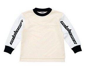 """CALABASAS - Camiseta Manga Longa Yeezy Jersey """"Bege/Branco"""" (Infantil) -NOVO-"""