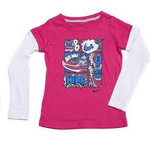 "NIKE - Camiseta Manga Longa Air Max ""Rosa/Branco"" (Infantil) -NOVO-"