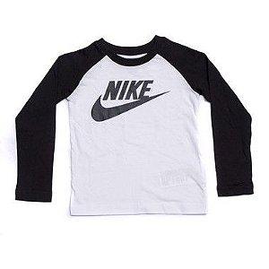 "NIKE - Camiseta Manga Longa ""Branco/Preto"" (Infantil) -NOVO-"