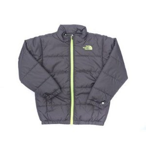 "THE NORTH FACE - Jaqueta Puff ""Cinza/Verde Neon"" (Infantil) -USADO-"