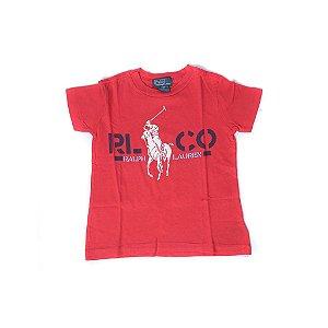 """POLO RALPH LAUREN - Camiseta Cotton RLCO """"Vermelho"""" (Infantil) -USADO-"""