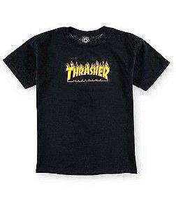 "THRASHER - Camiseta Kids Flame Logo ""Preto"" (Infantil) -NOVO-"