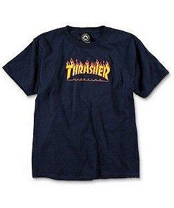 """THRASHER - Camiseta Kids Flame Logo """"Azul Marinho"""" (Infantil) -NOVO-"""