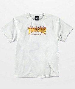 """THRASHER - Camiseta Kids Flame Logo """"Branco"""" (Infantil) -NOVO-"""