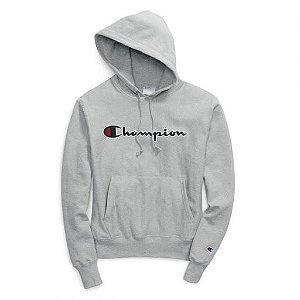 "CHAMPION - Moletom Logo Script ""Cinza"" -NOVO-"