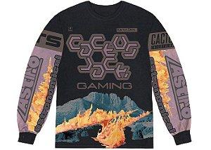 "TRAVIS SCOTT - Camiseta Manga Longa The Scotts Gaming I ""Preto/Lilás"" -NOVO-"