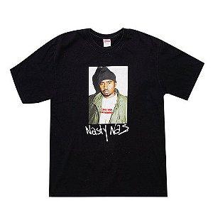 "SUPREME - Camiseta Nas ""Preto"" -USADO-"
