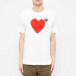 "!COMME DES GARÇONS - Camiseta Play Front & Back Heart ""Branco"" -NOVO-"