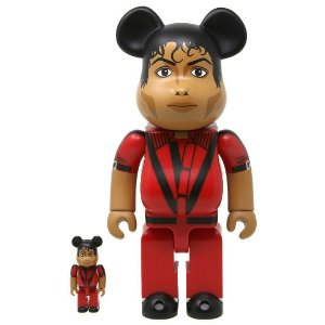 "MEDICOM TOY - Boneco Bearbrick 400% & 100% Michael Jackson ""Red Jacket"" -NOVO-"