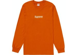 "!SUPREME - Camiseta Manga Longa Box Logo ""Laranja""  -NOVO-"