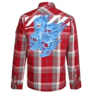 "OFF-WHITE - Camisa Flannel Checkered Zip Up Skull ""Vermelho"" -USADO-"