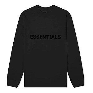 "FOG - Camiseta Manga Longa Essentials 3D Silicon Applique ""Preto"" -NOVO-"