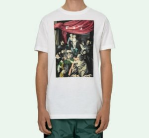 "OFF-WHITE - Camiseta Caravaggio Painting Slim ""Branco"" -NOVO-"