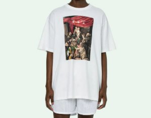 "OFF-WHITE - Camiseta Caravaggio Painting Over ""Branco"" -NOVO-"