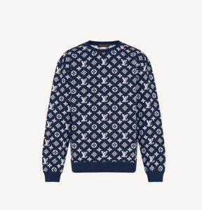 "LOUIS VUITTON - Moletom Crewneck Full Monogram Jacquard ""Marinho"" -NOVO-"