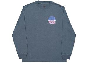"""PALACE - Camiseta Manga Longa Tri-Curtain """"Cinza"""" -USADO-"""