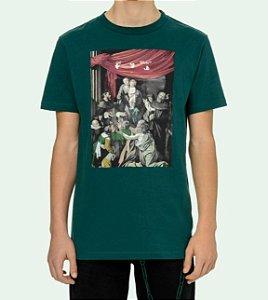 """OFF-WHITE - Camiseta Caravaggio Painting Slim """"Verde"""" -NOVO-"""