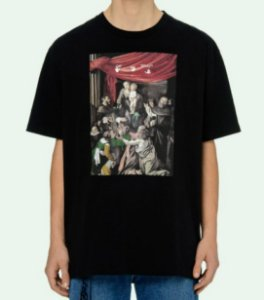 "OFF-WHITE - Camiseta Caravaggio Painting Over ""Preto"" -NOVO-"