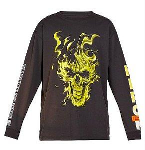 "HERON PRESTON - Camiseta Manga Longa Skull Flame ""Preto"" -USADO-"